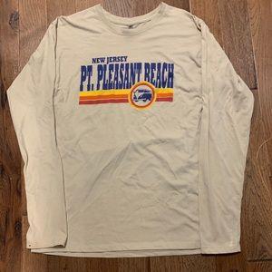 Point pleasant beach tan long sleeve graphic top